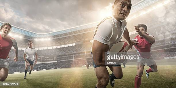 Powerful Rugby Player Hero During Rugby Match In Stadium