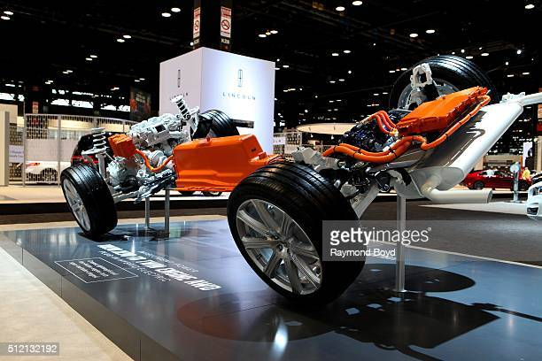 Powertrain of 2016 Volvo XC90 T8 Twin Engine AWD plugin hybrid is on display at the 108th Annual Chicago Auto Show at McCormick Place in Chicago...