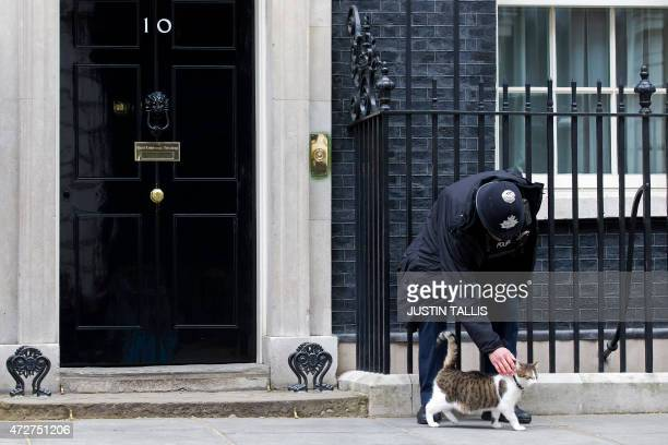A p[police officer strokes Larry the cat of British Prime Minister David Cameron sits on the step outside 10 Downing Street in London on May 9 2015...