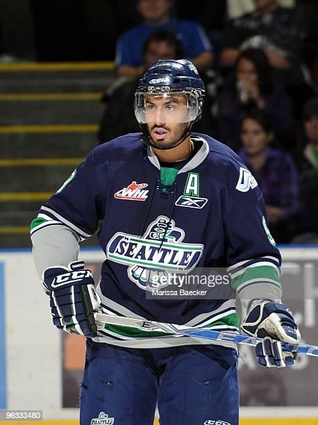 Prab Rai of the Seattle Thunderbirds skates against the Kelowna Rockets at Prospera Place on January 27 2010 in Kelowna Canada Rai is a 2008 NHL...