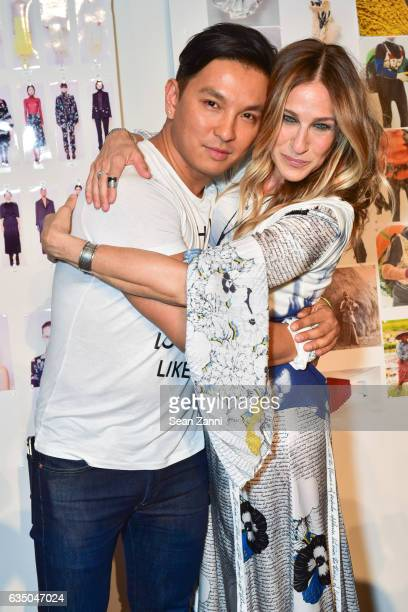 Prabal Gurung and Sarah Jessica Parker attends the Prabal Gurung show during New York Fashion Week at Skylight Clarkson Sq on February 12 2017 in New...
