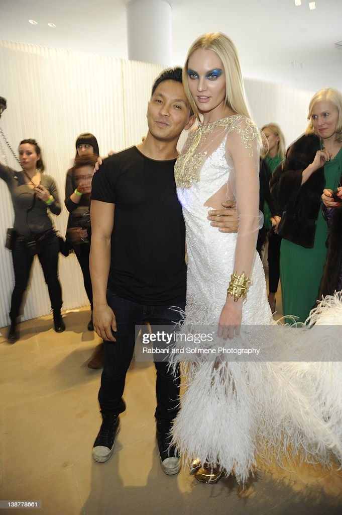 Prabal Gurung (L) backstage at the Prabal Gurung fall 2012 fashion show during Mercedes-Benz Fashion Week at the IAC Building on February 11, 2012 in New York City.