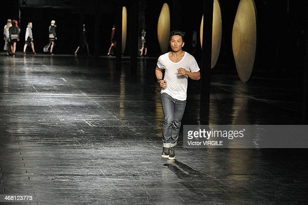 Prabal Gurung walks the runway at the Prabal Gurung Gurung Ready to Wear Fall/Winter 20142015 fashion show during New York Fashion Week on February 8...