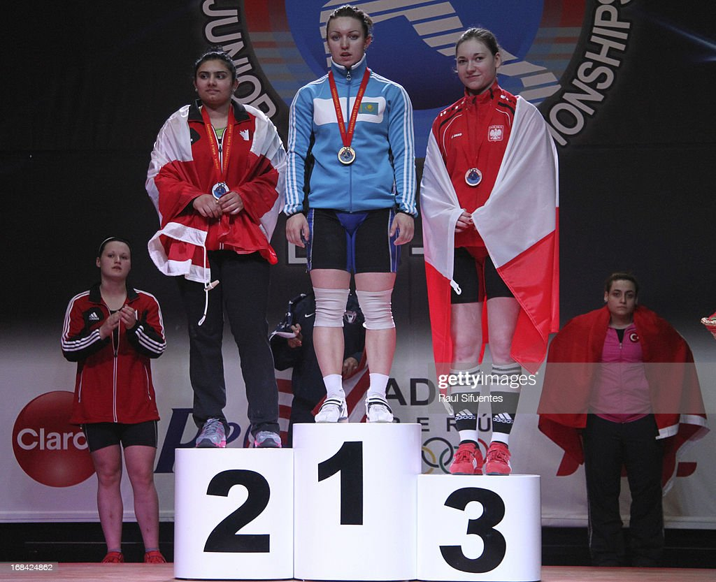 Prabdeep Sanghera of Canada A, Anastsiya Shvabauer of Kazakhstan and Jolanta Wior of Poland A in the podium of Women's 75kg snatch during day six of the 2013 Junior Weightlifting World Championship at Maria Angola Convention Center on May 09, 2013 in Lima, Peru.