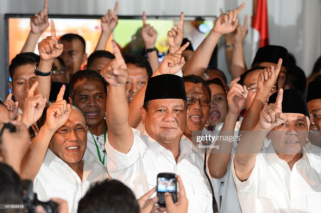 <a gi-track='captionPersonalityLinkClicked' href=/galleries/search?phrase=Prabowo+Subianto&family=editorial&specificpeople=3051840 ng-click='$event.stopPropagation()'>Prabowo Subianto</a>, presidential candidate, center, gestures during a news conference following the presidential election in Jakarta, Indonesia, on Wednesday, July 9, 2014. Jakarta Governor Joko Widodo led unofficial tallies for president of the world's third-biggest democracy as opponent Prabowo declared himself the probable winner, raising the prospect of a contested result. Photographer: Dimas Ardian/Bloomberg via Getty Images