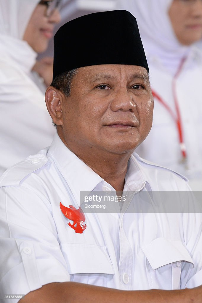 <a gi-track='captionPersonalityLinkClicked' href=/galleries/search?phrase=Prabowo+Subianto&family=editorial&specificpeople=3051840 ng-click='$event.stopPropagation()'>Prabowo Subianto</a>, presidential candidate, smiles during a news conference after a debate against opponent Joko Widodo in Jakarta, Indonesia, on Saturday, July 5, 2014. Indonesians will vote for their next president on July 9. Photographer: Dimas Ardian/Bloomberg via Getty Images