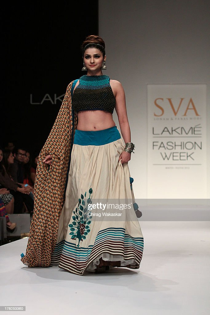 <a gi-track='captionPersonalityLinkClicked' href=/galleries/search?phrase=Prachi+Desai&family=editorial&specificpeople=5428962 ng-click='$event.stopPropagation()'>Prachi Desai</a> showcases designs by SVA during day 5 of Lakme Fashion Week Winter/Festive 2013 at the Hotel Grand Hyatt on August 27, 2013 in Mumbai, India.
