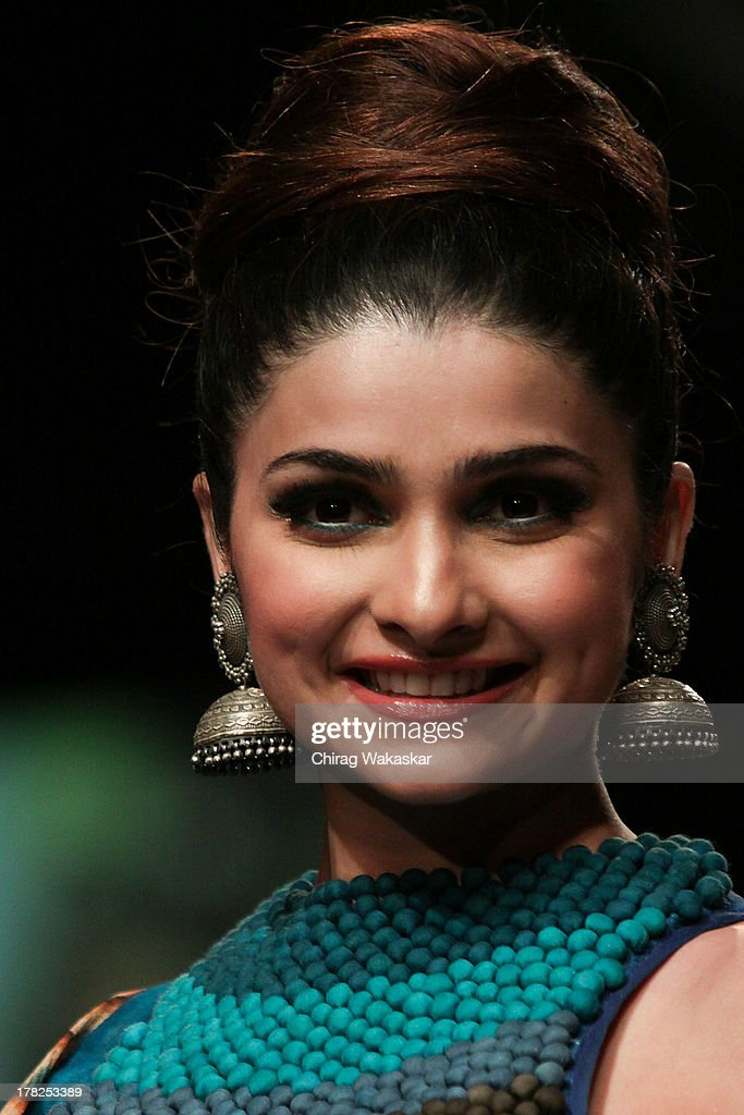 Prachi Desai showcases designs by SVA during day 5 of Lakme Fashion Week Winter/Festive 2013 at the Hotel Grand Hyatt on August 27, 2013 in Mumbai, India.