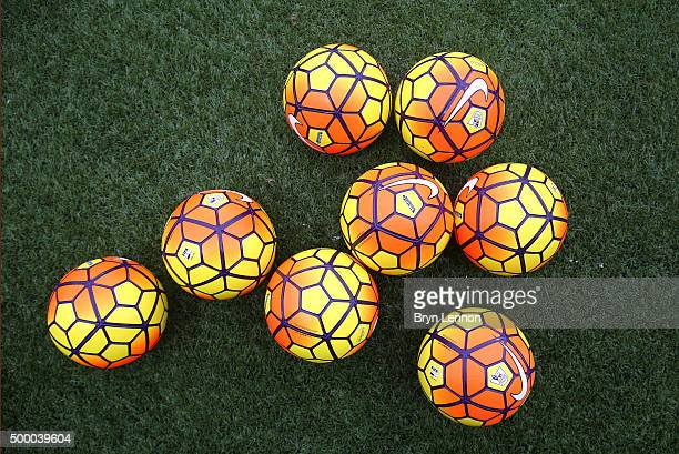 Practice ball are seen prior to the Barclays Premier League match between Southampton and Aston Villa at St Mary's Stadium on December 5 2015 in...