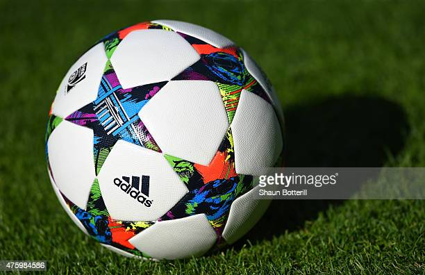 A practice ball is pictured during a Juventus training session on the eve of the UEFA Champions League Final match against FC Barcelona at...