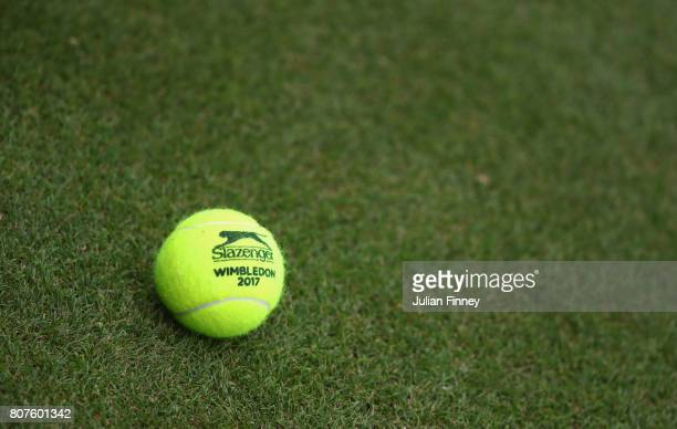A practice ball is seen on day two of the Wimbledon Lawn Tennis Championships at the All England Lawn Tennis and Croquet Club on July 4 2017 in...