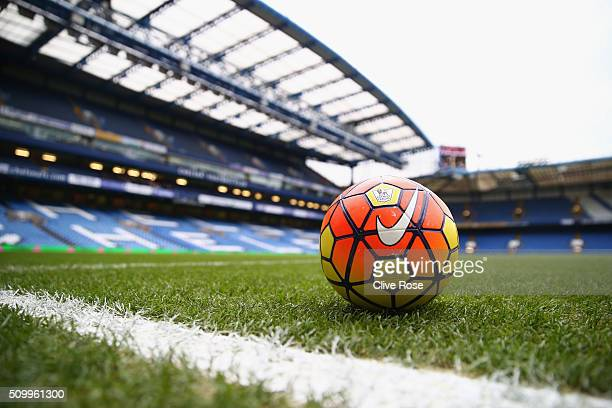 A practice ball is seen on the pitch prior to the Barclays Premier League match between Chelsea and Newcastle United at Stamford Bridge on February...