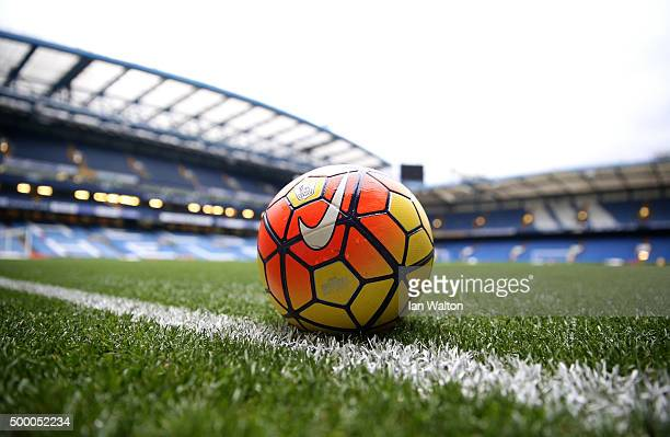 A practice ball is seen prior to the Barclays Premier League match between Chelsea and AFC Bournemouth at Stamford Bridge on December 5 2015 in...