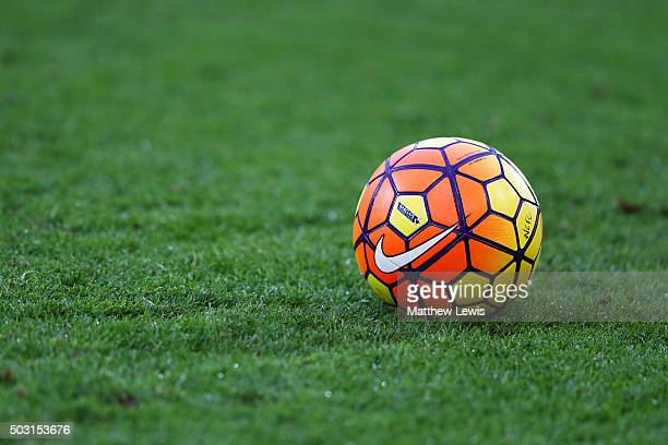 A practice ball is seen prior to the Barclays Premier League match between Norwich City and Southampton at Carrow Road on January 2 2016 in Norwich...