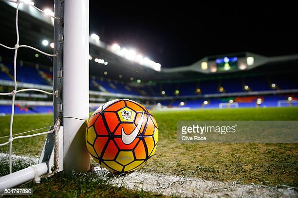 A practice ball is seen prior to the Barclays Premier League match between Tottenham Hotspur and Leicester City at White Hart Lane on January 13 2016...