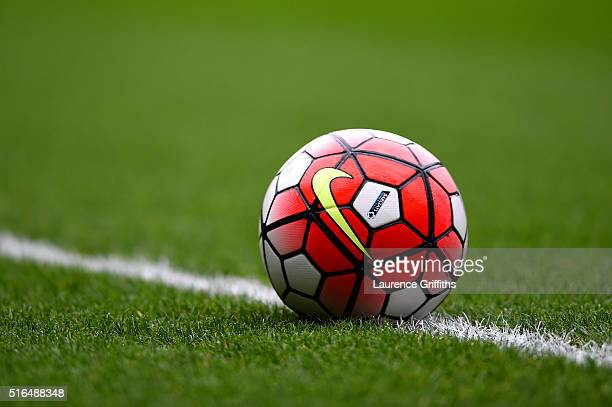 A practice ball is seen prior to the Barclays Premier League match between West Bromwich Albion and Norwich City at The Hawthorns on March 19 2016 in...