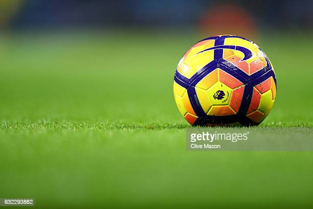A practice ball is seen prior to the Premier League match between Manchester City and Tottenham Hotspur at the Etihad Stadium on January 21 2017 in...