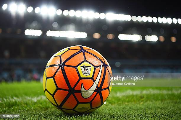 A practice ball sit son the turf prior to the Barclays Premier League match between Aston Villa and Crystal Palace at Villa Park on January 12 2016...