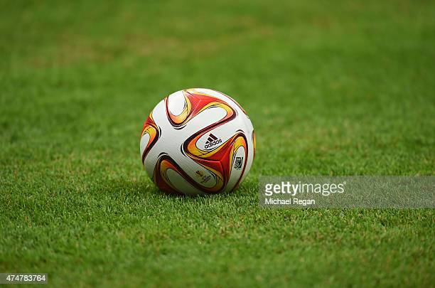A practice ball sits on the turf during an FC Dnipro Dnipropetrovsk training session on the eve of the UEFA Europa League Final against FC Sevilla at...