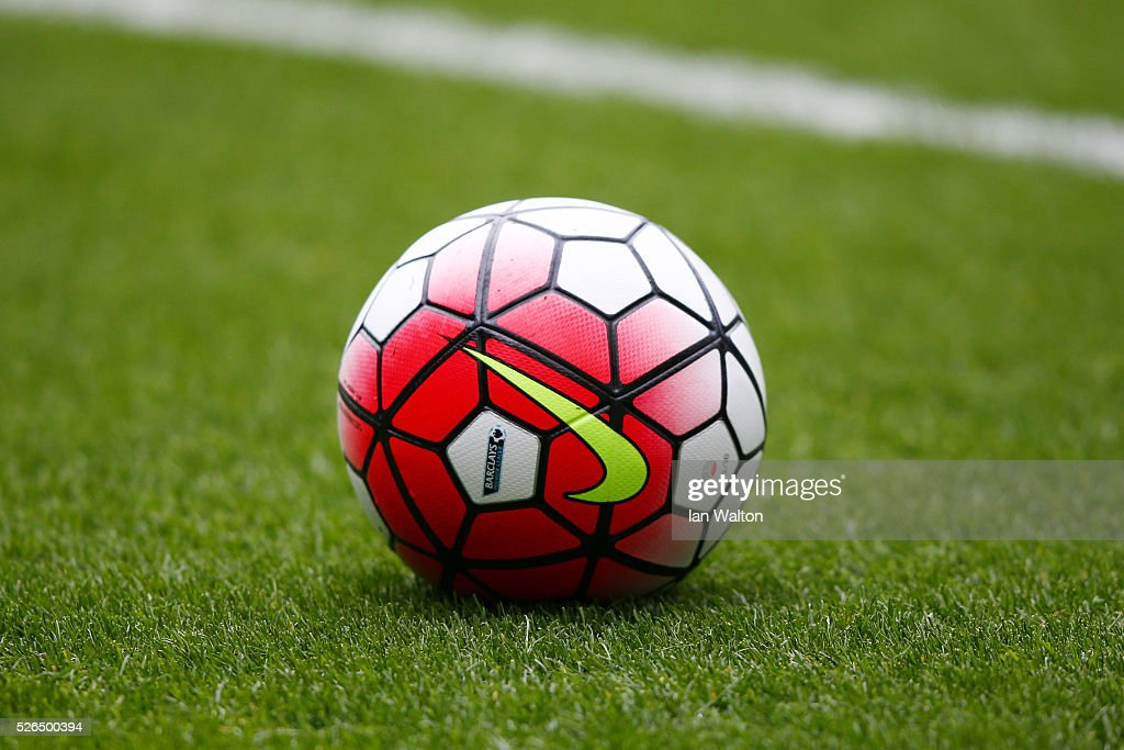 A practice ball sits on the turf prior to the Barclays Premier League match between West Bromwich Albion and West Ham United at The Hawthorns on April 30, 2016 in West Bromwich, England.