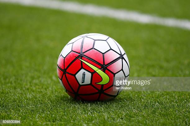 A practice ball sits on the turf prior to the Barclays Premier League match between West Bromwich Albion and West Ham United at The Hawthorns on...