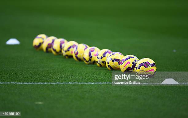 Practice balls are laid out prior to the Barclays Premier League match between Hull City and Tottenham Hotspur at KC Stadium on November 23 2014 in...
