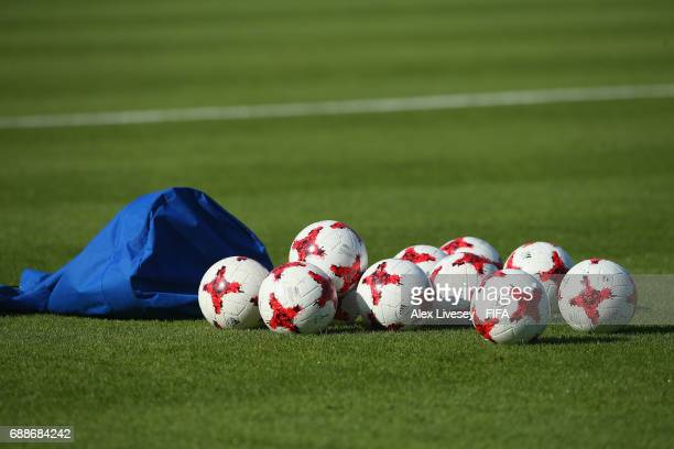 Practice balls are seen during a training session at the Daejeon World Cup Stadium training pitch during the FIFA U20 World Cup on May 26 2017 in...