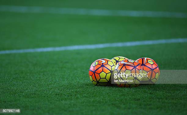 Practice balls are seen prior to the Barclays Premier League match between Sunderland and Manchester City at the Stadium of Light on February 2 2016...