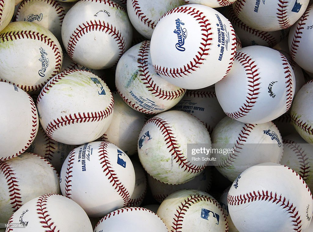 Practice balls before the start of a game between the St. Louis Cardinals and the Philadelphia Phillies on April 21, 2013 at Citizens Bank Park in Philadelphia, Pennsylvania.