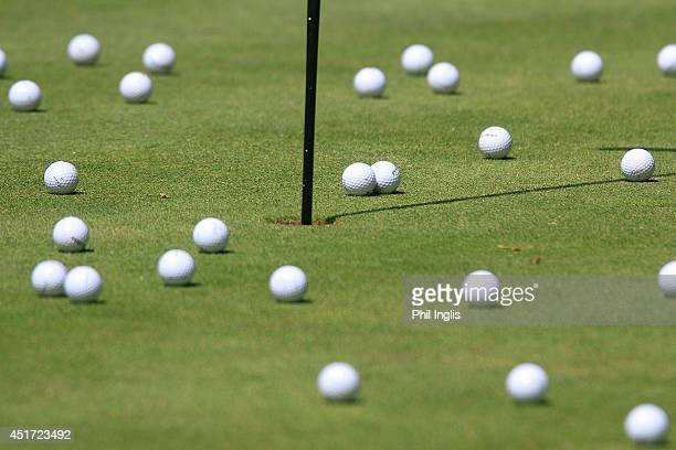 practice balls on the range during the second round of the Bad Ragaz PGA Seniors Open played at Golf Club Bad Ragaz on July 5 2014 in Bad Ragaz...