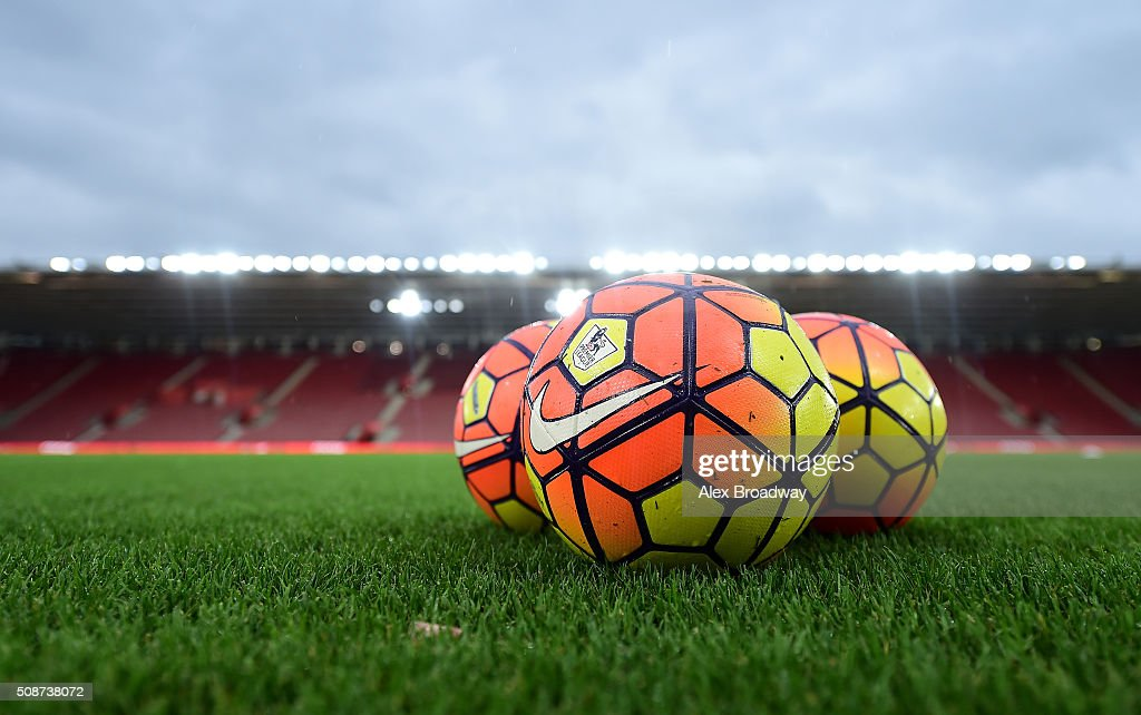 Practice balls sit on the turf prior to the Barclays Premier League match between Southampton and West Ham United at St Mary's Stadium on February 6, 2016 in Southampton, England.