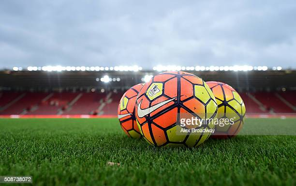Practice balls sit on the turf prior to the Barclays Premier League match between Southampton and West Ham United at St Mary's Stadium on February 6...