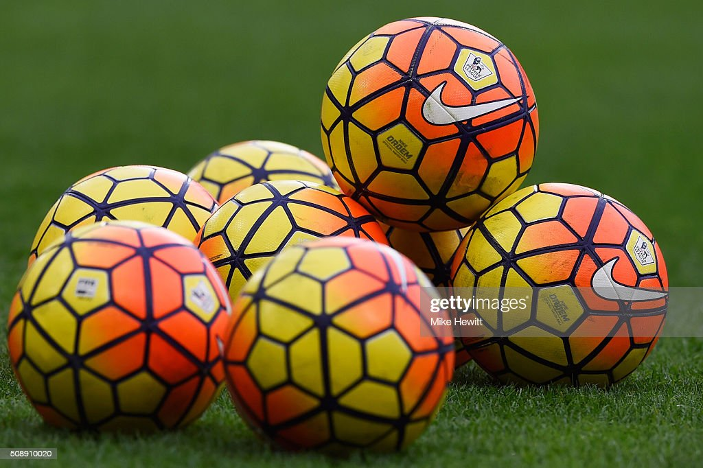 Practice balls sit on the turf the Barclays Premier League match between Chelsea and Manchester United at Stamford Bridge on February 7, 2016 in London, England.