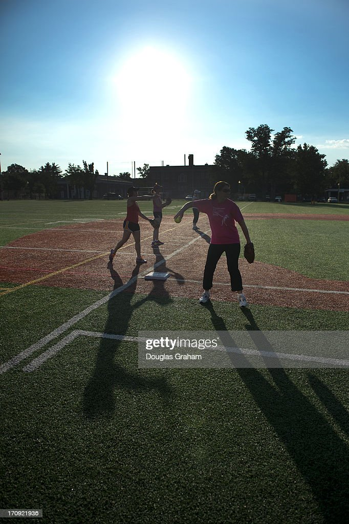 Practice for the Congressional Womens Softball Game at Watkins Elementary in Washington, D. C. on June 20, 2013. The bi-partisan group of women Members of Congress take the field against the the women of the DC Press Corps to raise funds and awareness for young women with breast cancer and will be played on Wednesday, June 26, 2013.