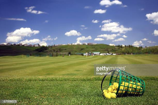 Practice Golf Balls and Bucket at Driving Range