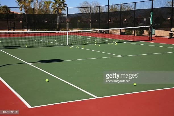 Practice Tennis Balls On Court.