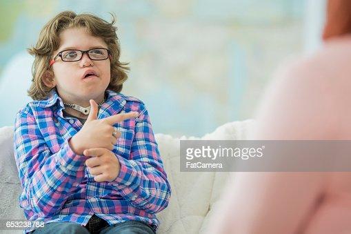 Practicing Sign Language : Foto stock