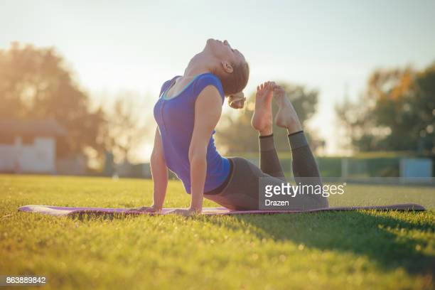 Practicing yoga - Bhujangasana pose