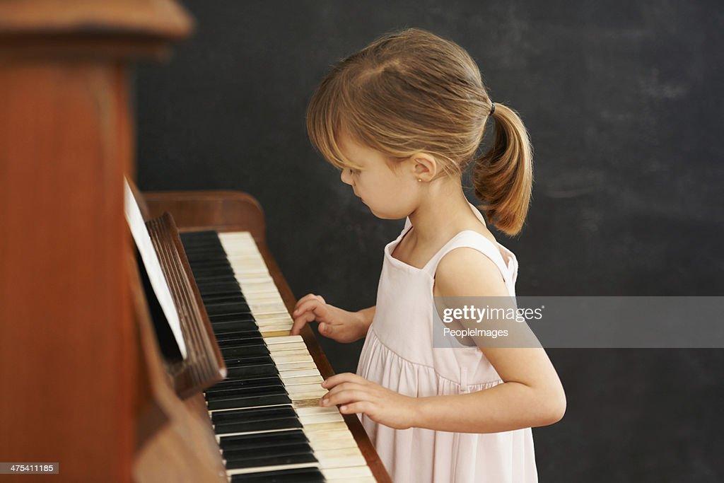 Practising for her recital