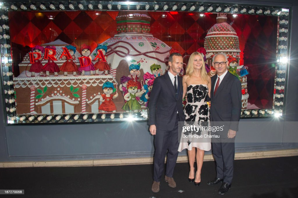 Prada fashion house communication director Stefano Cantino, <a gi-track='captionPersonalityLinkClicked' href=/galleries/search?phrase=Gwyneth+Paltrow&family=editorial&specificpeople=171431 ng-click='$event.stopPropagation()'>Gwyneth Paltrow</a> and Printemps' CEO Paolo de Cesare attend the Printemps Christmas Decorations Inauguration at Printemps Haussmann on November 7, 2013 in Paris, France.