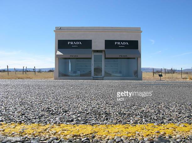 Prada Marfa is a brilliant art installation in the desert 40 miles west of town erected by the local art gallery Ballroom Marfa Pieces of Prada's...
