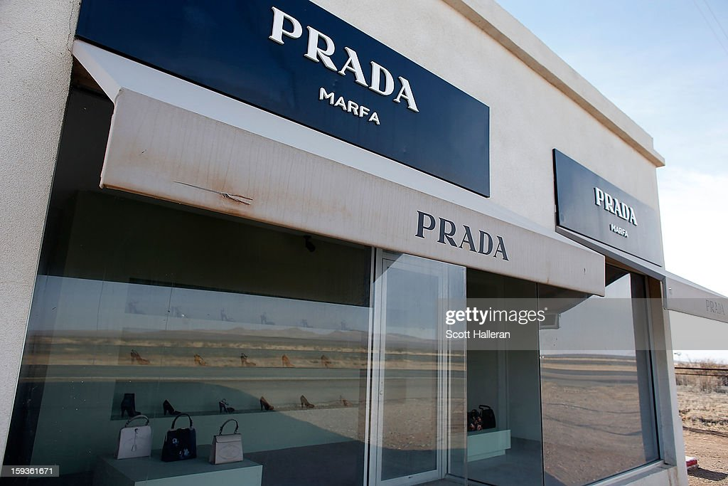 Prada Marfa which is a permanently installed sculpture by artists Elmgreen and Dragset to resemble a Prada store is seen on December 27, 2012 in Marfa, Texas. Situated in West Texas, this town of just over 2000 residents has become a popular tourist destination.