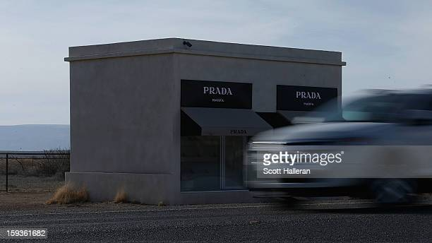 Prada Marfa which is a permanently installed sculpture by artists Elmgreen and Dragset to resemble a Prada store is seen on December 27 2012 in Marfa...