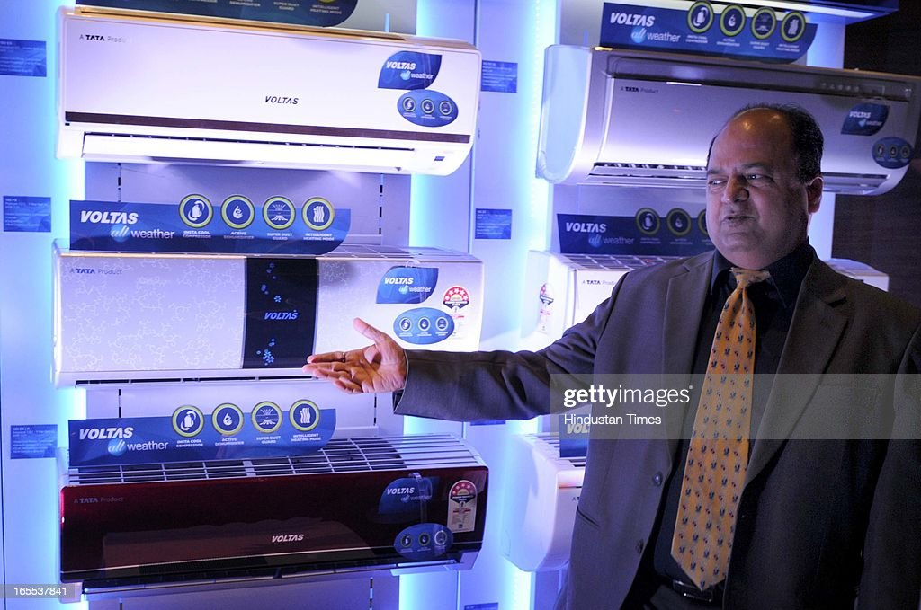 Pradeep Bakshi, Executive Vice President & Chief Operating Officer, Unitary Products Business Group (UPBG), Voltas Ltd Launch new All Weather ACs at The Lalit Hotel on April 4, 2013 in New Delhi, India.