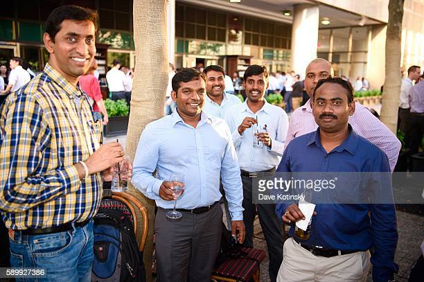 Pradeep Nagaraj Praneeth Tulasee Raghav and Mark at the ITI Data Corporate Summer Party held at PJ Clarke's NYC on July 14 2016 in New York City