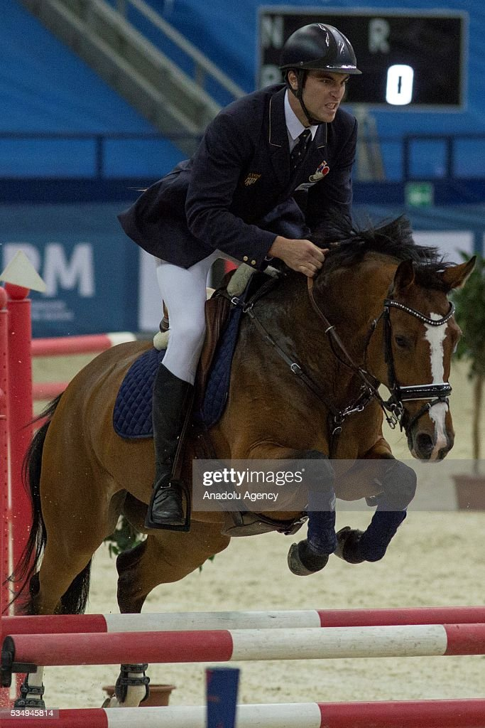 Prades Valentin of France competes in the men's riding final at the World Championship in modern pentathlon at the Olympic Sports Complex in Moscow, Russia, on May 28, 2016.