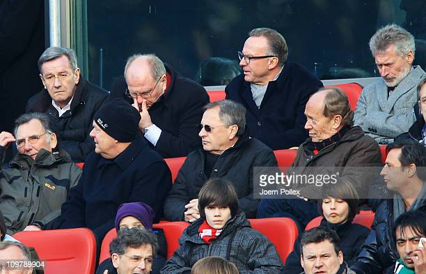 Praesident Uli Hoeness of Bayern is seen during the Bundesliga match between Hannover 96 and FC Bayern Muenchen at AWD Arena on March 5 2011 in...