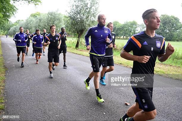 Praet Dennis midfielder of Rsc Anderlecht and Nuytinck Bram defender of Rsc Anderlecht pictured during the morning run of RSC Anderlecht at the...