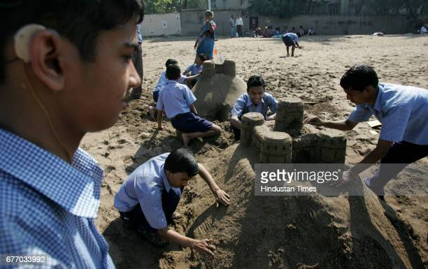 Pragati vidatlay Dadar Deaf Dumb Children participating Sand Castle making competition at Dadar Chapatti on Saturday