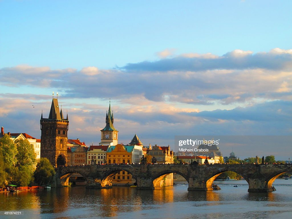 Prague and the Charles Bridge, Late Afternoon : Stock Photo